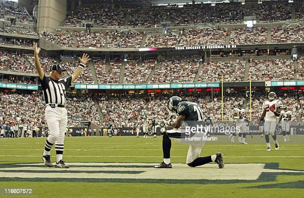 Eagles wide receiver Donte' Stallworth celebrates after scoring a second quarter touchdown against the Texans at Reliant Stadium Houston Texas...