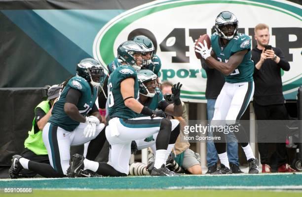 Eagles WR Torrey Smith orchestrates an elaborate TD celebration with teammates Zach Ertz LeGarrette Blount Alshon Jeffery and Carson Wentz in the...