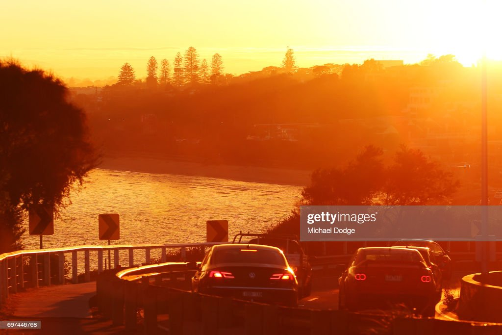 eak hour traffic travel down Olivers Hill in Frankston as morning fog slowly clears during sunrise on June 19, 2017 in Melbourne, Australia.