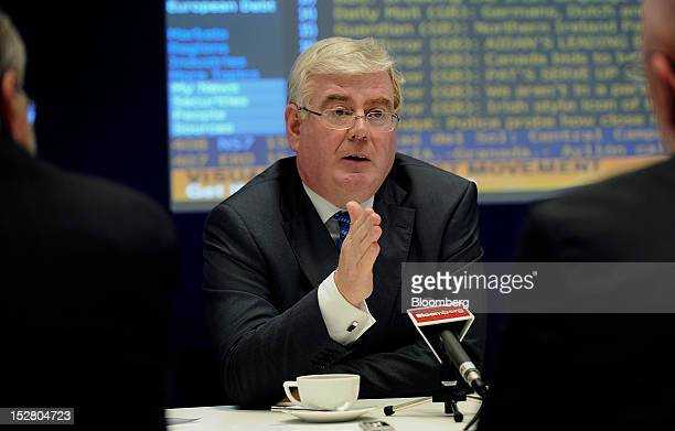 Eamon Gilmore deputy prime minister of Ireland speaks during an interview in New York US on Wednesday Sept 26 2012 Irish bonds slumped yesterday...