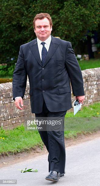 Eamon Holmes leaves the Funeral of Caron Keating following her death from breast cancer last week at Hever Church in Edenbridge on April 20 2004 in...