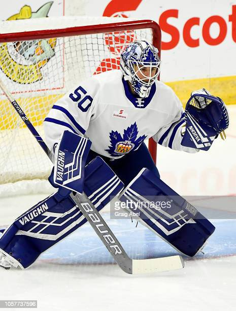 Eamon McAdam of the Toronto Marlies skates in warmup prior to a game against the Hartford Wolf Pack during AHL game action on October 20, 2018 at...