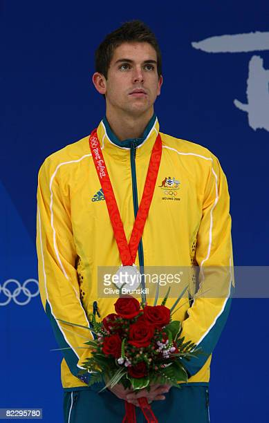 Eamon Sullivan of Australia poses with the silver medal during the medal ceremony for the Men's 100m Freestyle held at the National Aquatics Centre...