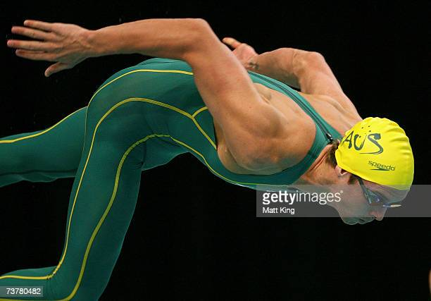 Eamon Sullivan of Australia starts in the Mens 50m Freestyle during the Duel in the Pool swimming meet between Australia and the United States of...
