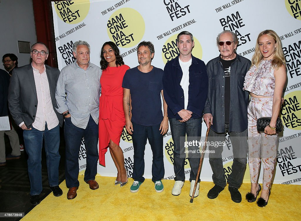 Eamonn Bowles, film producer Cary Woods, actress Rosario Dawson, Harmony Korine, Leo Fitzpatrick, director Larry Clark and Chloe Sevigny attend the 'Kids' 20th Anniversary Screening at BAMcinemaFest 2015 at BAM Peter Jay Sharp Building on June 25, 2015 in New York City.