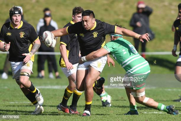 Eamonn Carr of Wellington makes a break during the Jock Hobbs Memorial Tournament match between Wellington and Manawatu on September 16 2017 in Taupo...