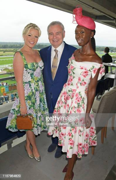 Eamonn Holmes Eunice Olumide and Natalie Rushdie attend the King George Weekend at Ascot Racecourse on July 27 2019 in Ascot England