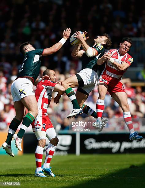 Eamonn Sheridan of London Irish Charlie Sharples of Gloucester Andrew Fenby of London Irish and Freddie Burns of Gloucester compete for a high ball...