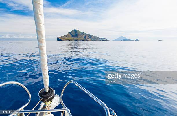 Eaolian Islands ahead of yacht