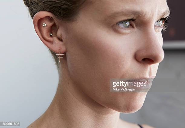Ear piercer and jewelry designer J Colby Smith ear piercings are photographed for Grazia UK on June 2 2016 in New York City PUBLISHED IMAGE