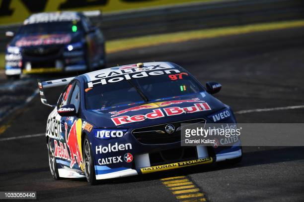 Earl Bamber drives the Red Bull Holden Racing Team Holden Commodore ZB during practice for the Supercars Sandown 500 at Sandown International Motor...