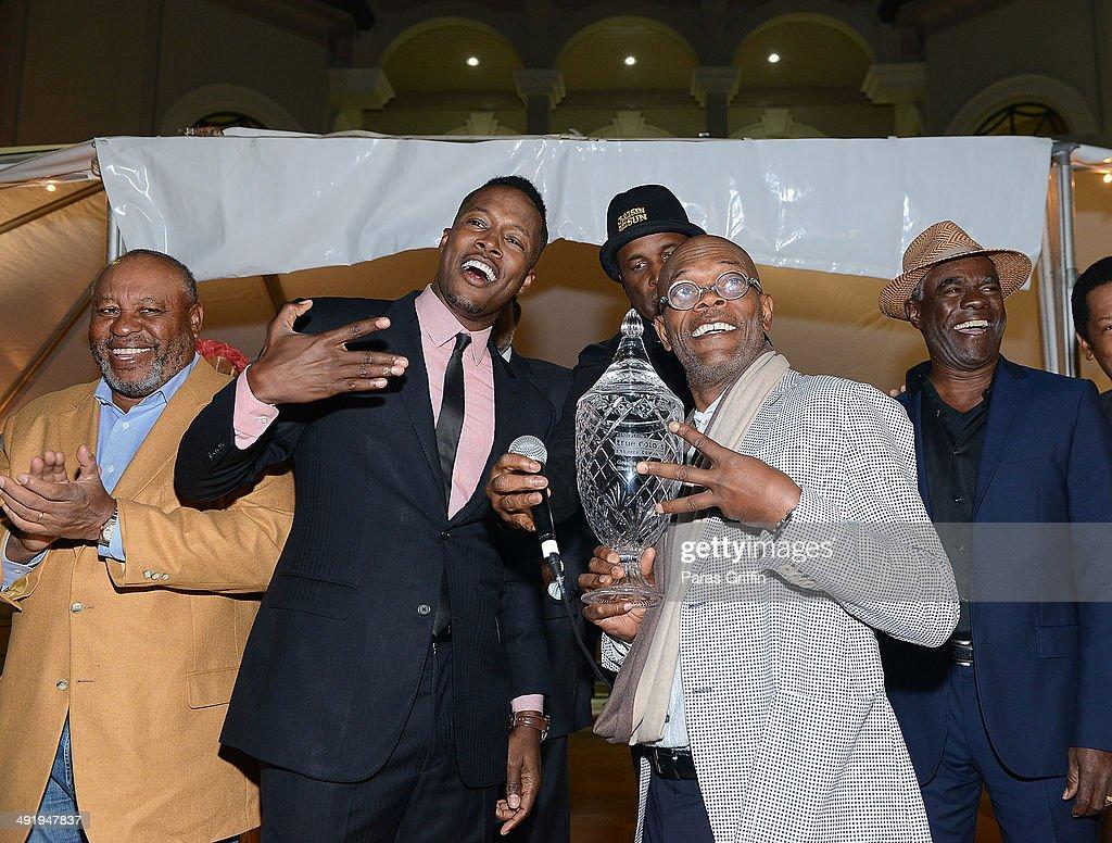 Earl Billings, Flex Alexander, Kenny Leon, Samuel L. Jackson, and Glynn Turman onstage at 2014 Blues In The Night on May 17, 2014 in Atlanta, Georgia.