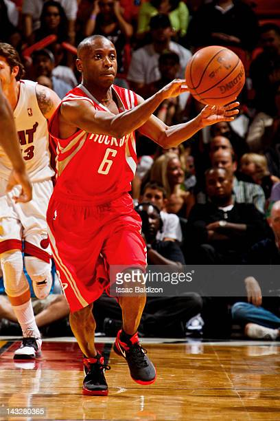 Earl Boykins of the Houston Rockets passes the ball against the Miami Heat on April 22 2012 at American Airlines Arena in Miami Florida NOTE TO USER...
