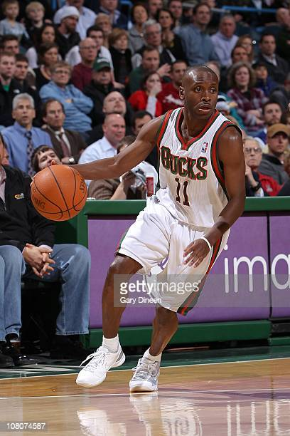 Earl Boykins of the Milwakee Bucks moves the ball against the San Antonio Spurs on January 12 2011 at the Bradley Center in Milwaukee Wisconsin NOTE...
