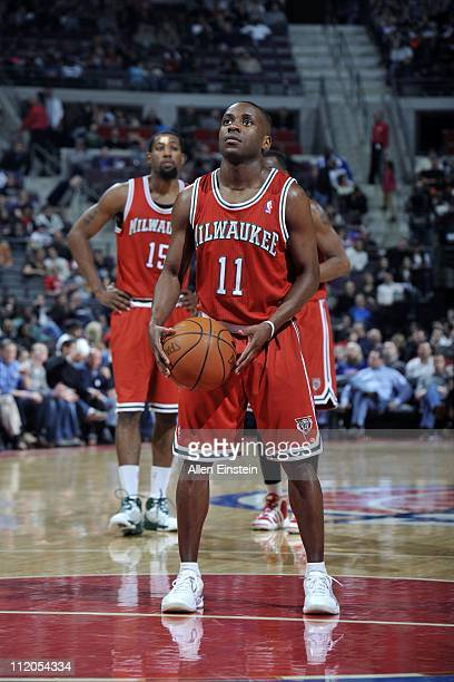 Earl Boykins of the Milwaukee Bucks prepares to shoot a free throw against the Detroit Pistons in a game on April 8 2011 at The Palace of Auburn...