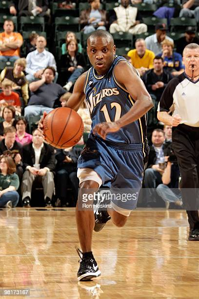 Earl Boykins of the Washington Wizards drives the ball downcourt against the Indiana Pacers during the game on March 24 2010 at Conseco Fieldhouse in...