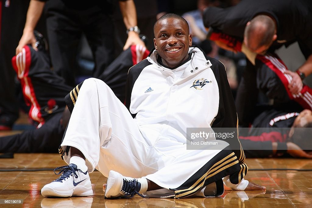 Earl Boykins #12 of the Washington Wizards smiles during warmups before the game against the Miami Heat on January 22, 2010 at the Verizon Center in Washington, D.C. The Heat won 112-88.