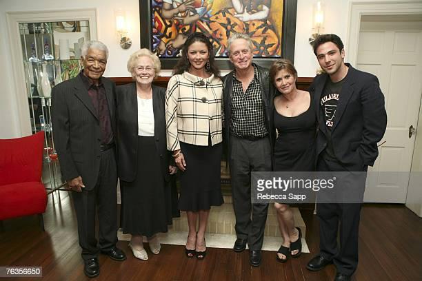Earl Cameron, Barbara Cameron, Catherine Zeta-Jones, Michael Douglas, Carrie Fisher and Ben Newmark
