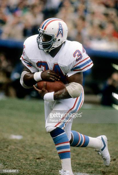 Earl Campbell of the Houston Oilers carries the ball during an NFL football game circa 1982 Campbell played for the Oilers from 197884