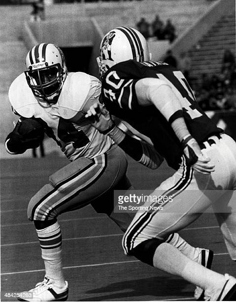 Earl Campbell of the Houston Oilers runs with the ball circa 1980s