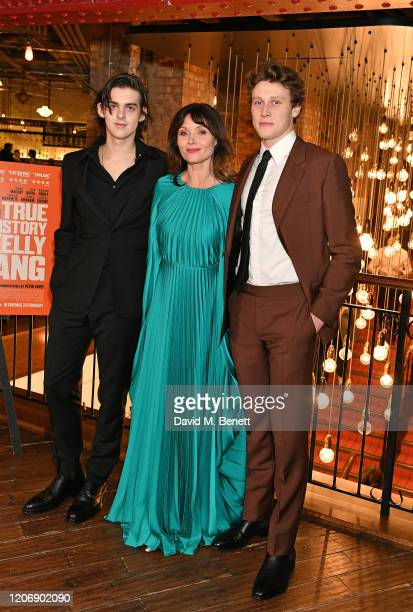 "Earl Cave, Essie Davis and George MacKay attend the UK Premiere of ""True History Of The Kelly Gang"" at the Picturehouse Central on February 17, 2020..."