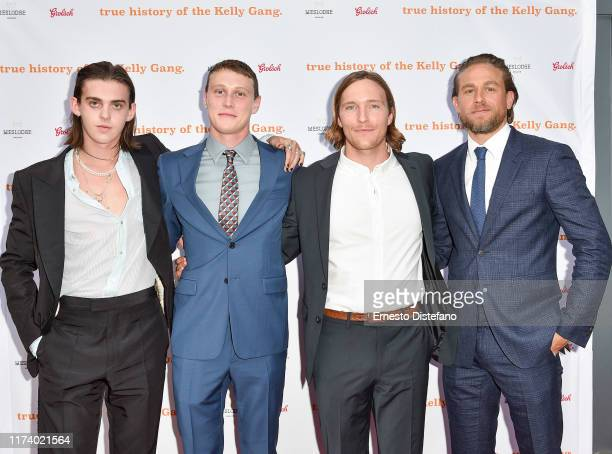 Earl Cave George Mackay Sean Keenan and Charlie Hunnam arrives at The True History Of The Kelly Gang World Premiere Party Hosted By Grolsch at...