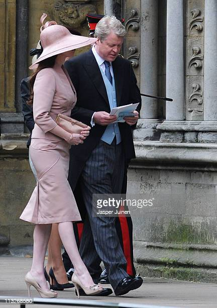 Earl Charles Spencer and Karen Gordon arrive to attend the Royal Wedding of Prince William to Catherine Middleton at Westminster Abbey on April 29...