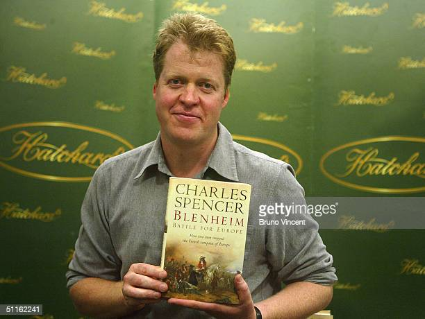 Earl Charles Spencer brother of the late Diana Princess Of Wales signs copies of his new book 'Blenheim Battle For Europe' at Hatchards Piccadilly on...