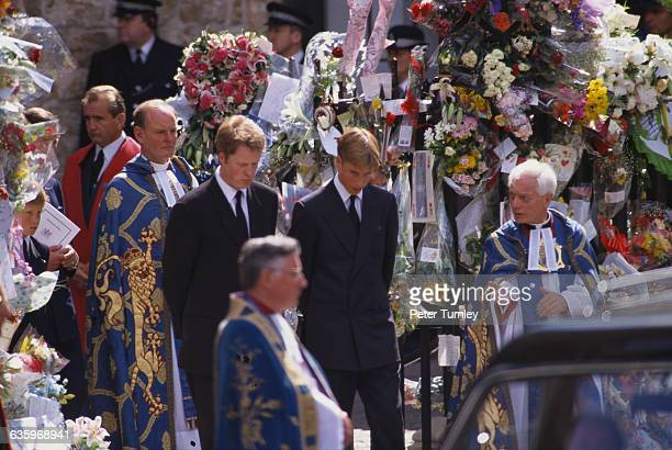 Earl Charles Spencer the younger brother of Princess Diana stands with his nephew Prince William at the funeral of Diana Princess of Wales only seven...
