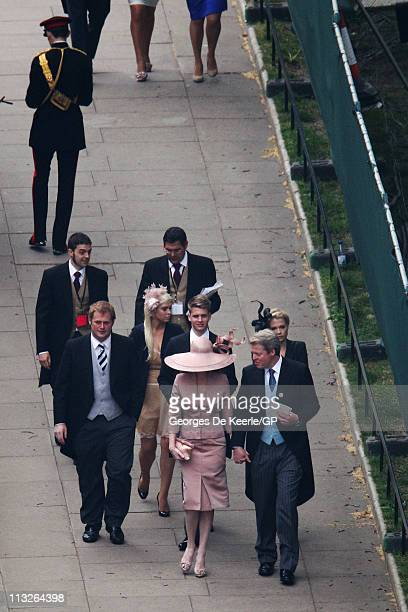 Earl Charles Spencer with his daughters Kitty Spencer and twins Amelia and Eliza and son Louis cousin George McCorquodale and Karen Gordon arrive to...