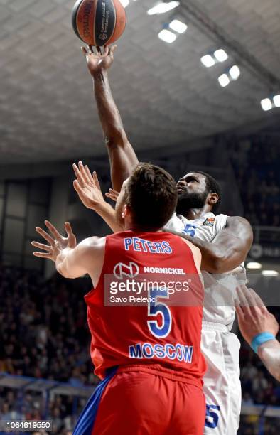 Earl Clark #5 of Buducnost Voli Podgorica competes with Alec Peters #5 of CSKA Moscow in action during the 2018/2019 Turkish Airlines EuroLeague...