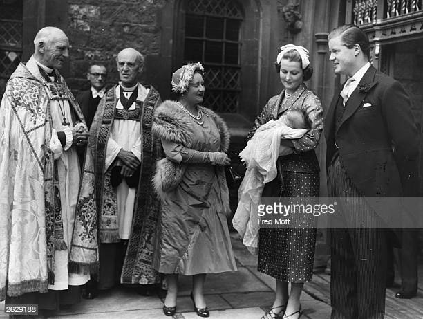Earl Edward Spencer and his first wife with Queen Elizabeth the Queen Mother at Westminster Abbey after the christening of their daughter Sarah...