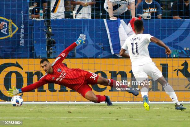 Earl Edwards Jr #36 of Orlando City SC dives for a save at StubHub Center on July 29 2018 in Carson California