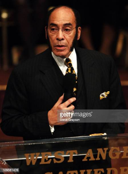 Earl Graves publisher of Black Enterprise Magazine speaks during the funeral service for the late Johnnie Cochran at the West Angeles Cathedral in...
