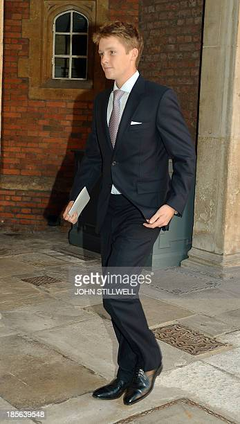 Earl Grosvenor leaves Chapel Royal in St James's Palace in central London after the Christening of Prince George of Cambridge on October 23 2013 The...
