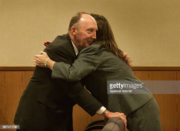 Earl Lindquist embraces his daughter Deborah Lindquist–Talbott after sentencing Thursday Lindquist of Thousand Oaks who two months ago pleaded guilty...