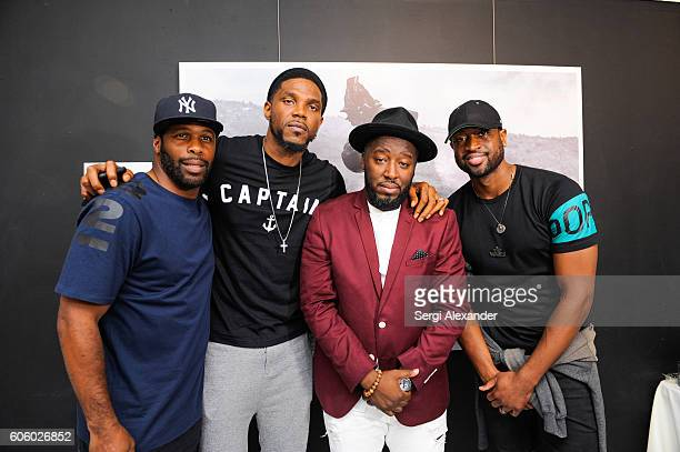 Earl Little Udonis Haslem Bob Metelus and Dwyane Wade attend Haitian photographer Bob Metelus unveils newest collection Haiti A Collective Cry from a...