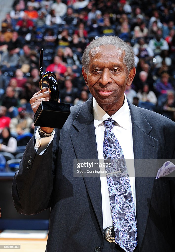 Earl Lloyd, the first African-American to play in the NBA is being honored to celebrate black history month at the game against the Atlanta Hawks and the Miami Heat on February 12, 2012 at Philips Arena in Atlanta, Georgia.