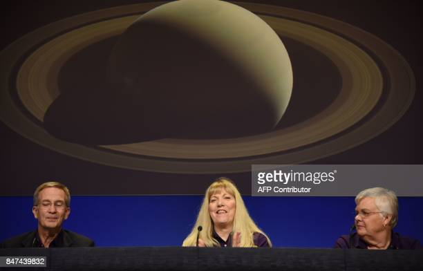 Earl Maize Cassini project manager Linda Spilker Cassini project scientist and Julie Webster spacecraft operations team manager speak at the end of...