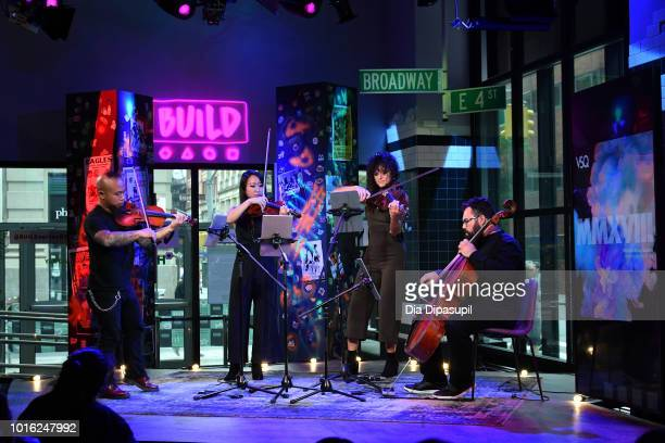 Earl Maneein Amanda Lo Lauren Baba and Derek Stein of Vitamin String Quartet perform onstage during the Build Series at Build Studio on August 13...