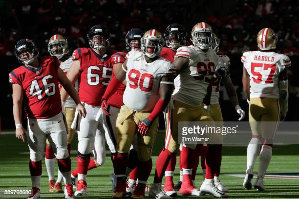 Earl Mitchell of the San Francisco 49ers and DeForest Buckner react to missed field goal by the Houston Texans in the fourth quarter at NRG Stadium...