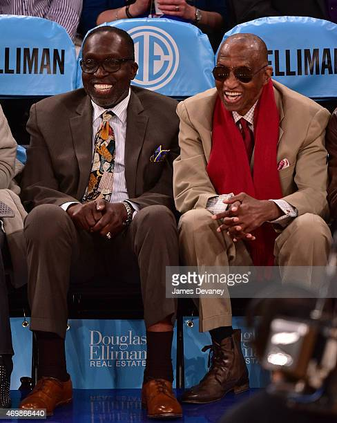 Earl Monroe and Dr Dick Barnett attend Detroit Pistons vs New York Knicks game at Madison Square Garden on April 15 2015 in New York City