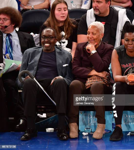 Earl Monroe and Marita Green attend Philadelphia 76ers Vs New York Knicks game at Madison Square Garden on April 12 2017 in New York City