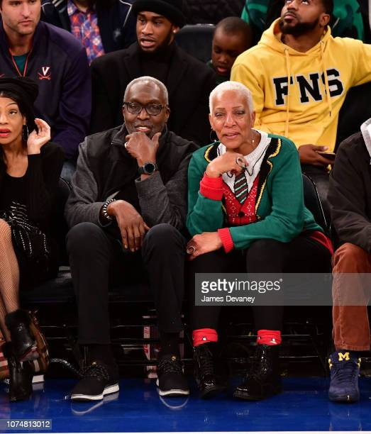 Earl Monroe and Marita Green attend the Milwaukee Bucks v New York Knicks game at Madison Square Garden on December 25 2018 in New York City