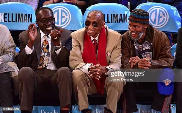 Earl Monroe Dr Dick Barnett and guest attend Detroit Pistons vs New York Knicks game at Madison Square Garden on April 15 2015 in New York City