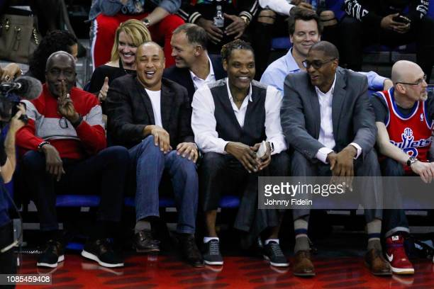 Earl Monroe Latrell Sprewell former player NBA during the NBA game against Washington Wizards and New York Knicks at The O2 Arena on January 17 2019...
