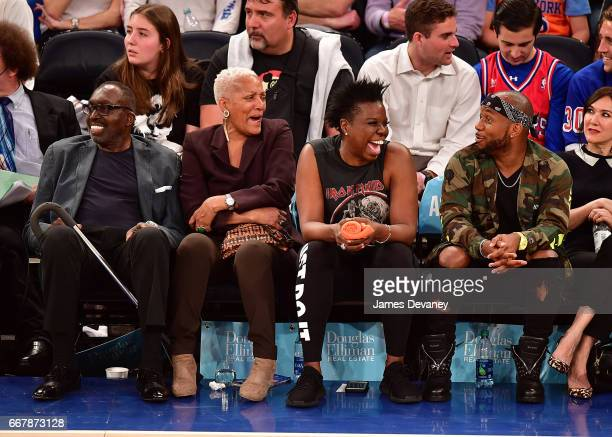 Earl Monroe Marita Green Leslie Jones and guest attend Philadelphia 76ers Vs New York Knicks game at Madison Square Garden on April 12 2017 in New...