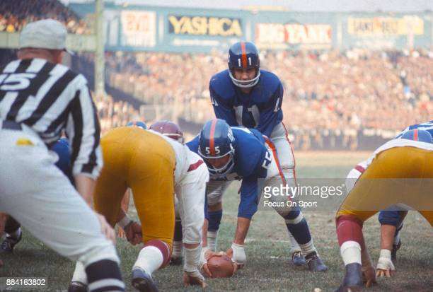 Earl Morrall of the New York Giants in action against the Washington Redskins during an NFL football game November 7 1965 at Yankee Stadium in the...