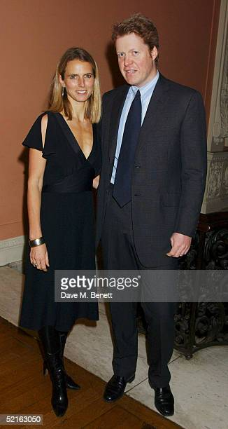 Earl of Spencer and wife Caroline Spencer attend the book launch for historian Andrew Roberts new book Waterloo at the English Speaking union Club in...