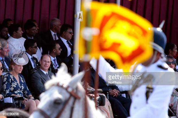 Earl of Wessex Prince Edward and his wife Countess of Wessex Sophie Rhys Jones attend the 70th Independence Day parade at the Galle Face green...